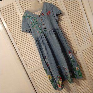 Cottagecore Chambray Dress Tole Floral OOAK
